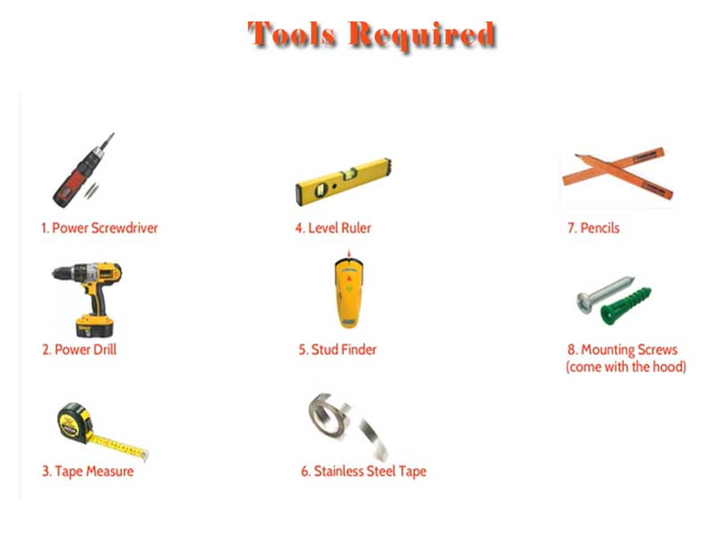 wall mount range hoods installation tools