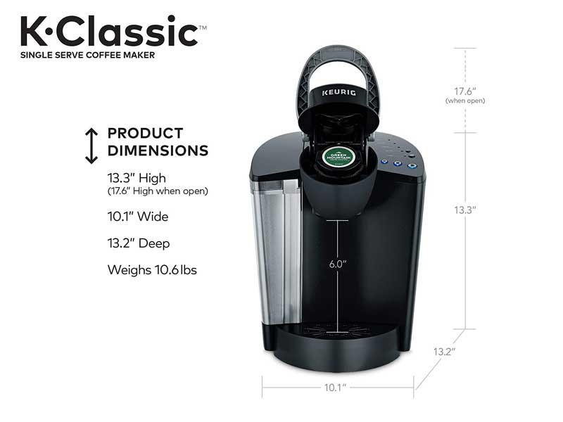 keurig k-classic product dimensions with visual parameters