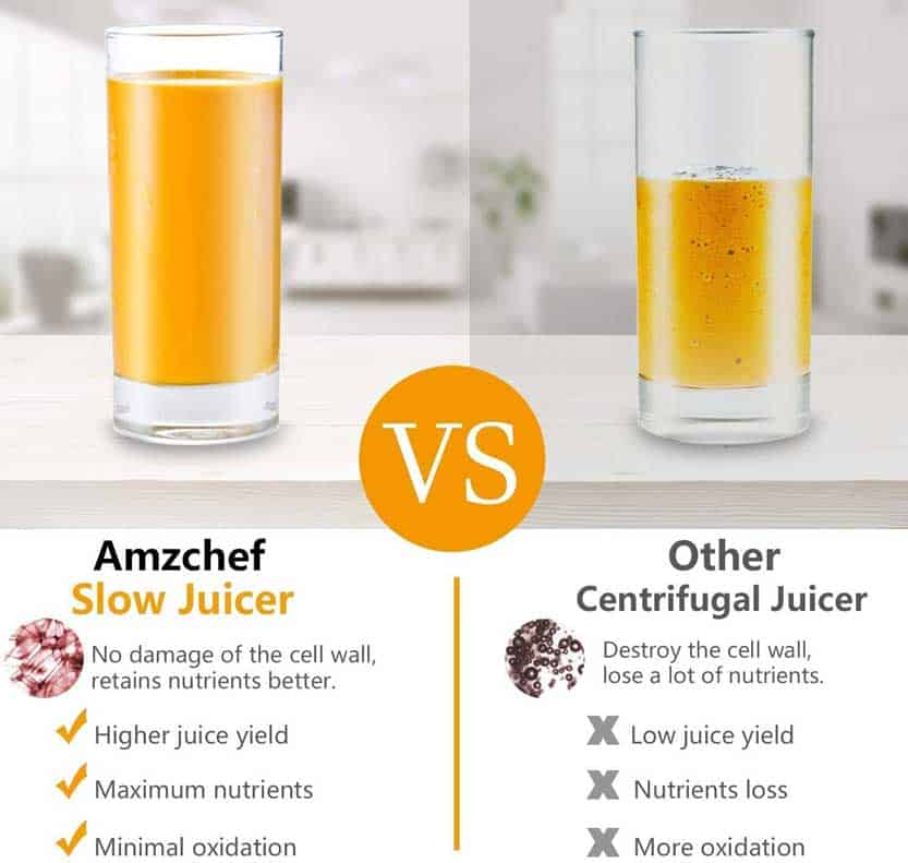 amzchef slow juicer vs other centrifugal juicer - compared now and see the deference