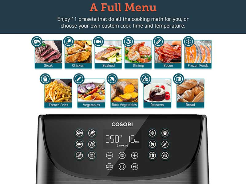 Cosori Air Fryer 5.8 Qt - Full Menu Included
